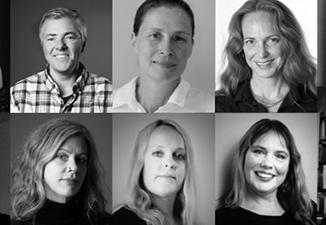 Porträttbilder på sex personer i svartvitt