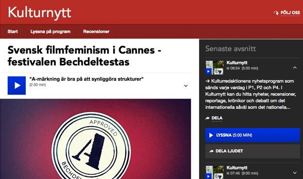Svensk filmfeminism i Cannes – festivalen Bechdeltestas